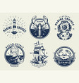 vintage monochrome nautical emblems set vector image