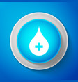 white blood drop icon isolated on blue background vector image