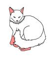 white cat sleeping on white background vector image vector image