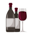 wine bottles and glass cup vector image