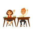 children sit at wooden desks and raise hands vector image