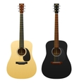 Realistic acoustic guitars isolated two western vector image
