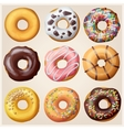 Set of cartoon donuts vector image