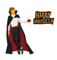 standing vampire with wineglass in hand vector image