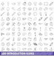 100 introduction icons set outline style vector image vector image