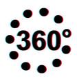 360 degree 3d stereoscopic effect viar 360 vector image