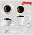 3d realistic espresso coffee in white cups vector image vector image