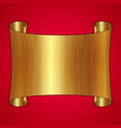 abstract gold award scroll plate on red background vector image vector image