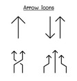 arrow icon set in thin line style vector image