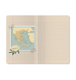 blank stapled lines notebook with map greece vector image