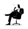 businessman sitting and reading on a chair while vector image vector image