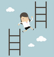 businesswoman jump from low stair to high stair vector image vector image