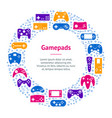 cartoon gamepad banner card circle vector image vector image