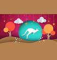 cartoon paper landscape kangaroo vector image vector image