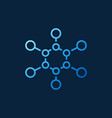 chemical structure outline blue icon or vector image
