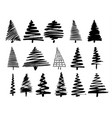 christmas tree sketch set isolated on white vector image vector image