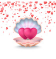 conch with couple hearts feeling love vector image