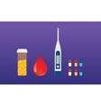 diabetes medicine drugs and blood test sugar vector image