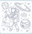 doodle style set cosmos astronaut hugging planet vector image