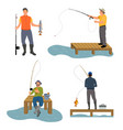 fisherman catches fish set vector image vector image