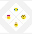 flat icon emoji set of pleasant cold sweat vector image vector image