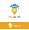 graduation cap and map pointer logo concept vector image vector image