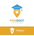 graduation cap and map pointer logo concept vector image vector image