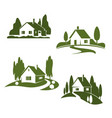 green house farm forest icons vector image vector image