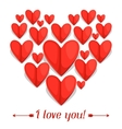 Greeting card with paper hearts Concept can be vector image vector image