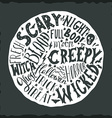 Halloween hand lettering on the round background vector image
