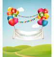 Happy birthday banner with balloons vector image vector image