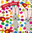 Happy Easter seamless pattern Rabbit eggs bird vector image vector image