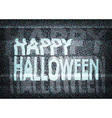 Happy Halloween message on an old tv screen vector image vector image