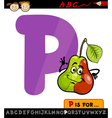 letter p with pear cartoon vector image vector image