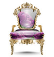 luxurious baroque chair soft textile vector image vector image