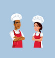 male and female team chef cartoon characters vector image