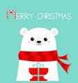 merry christmas polar white bear cub face holding vector image vector image