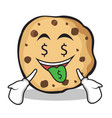 money mouth face sweet cookies character cartoon vector image vector image