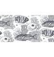 monochrome seamless sea pattern with vector image vector image