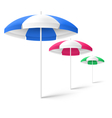 Multicolored sun beach umbrellas isolated on white vector image vector image
