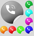 Phone icon sign Set of eight multi colored round vector image vector image