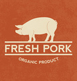 Premium pork label with grunge texture organic vector image vector image