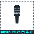 Reporter microphone icon flat vector image vector image