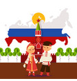 russian boy and girl in traditional costumes vector image