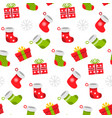 seamless pattern christmas items in flat style vector image vector image