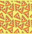 seamless trendy pizza slices pattern cute vector image