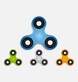 set of hand fidget spinner toys for stress relief vector image