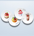 sweets on dish 01 vector image vector image