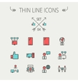 Technology thin line icon set vector image