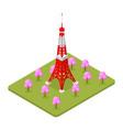 tokio tower famous landmark of capital japan vector image vector image